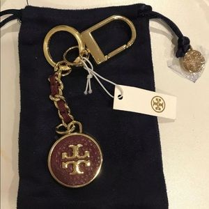 Tory Burch Claret Red Leather Golden Keychain